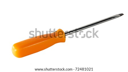 Screwdriver with orange hand on white background - stock photo