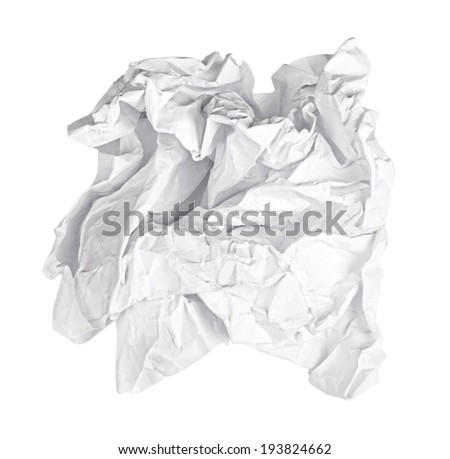 Screwed up piece of white paper isolated - stock photo