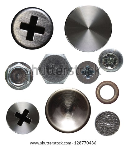 Screws and rivets isolated on white background. - stock photo