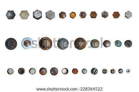 Screws head collection. Isolated on white background - stock photo