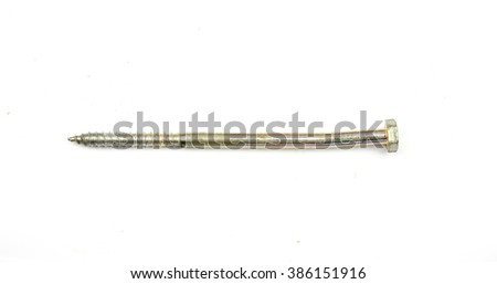 Screws isolated on white. Various screws on a white background.  Screw screwed  into wooden plank, closeup. Screw on white background - stock photo
