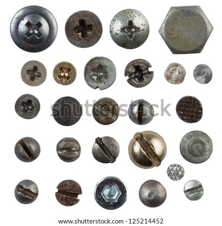 screws, nails, bolts heads isolated on white collection - stock photo