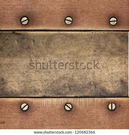screws on copper metal texture ; abstract background - stock photo