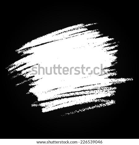 Scribble Hand drawn Stain in chalk on black background, raster logo design element  - stock photo