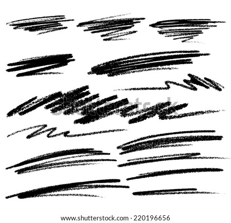 Scribble Smears Hand Drawn in Pencil , raster logo design element  - stock photo