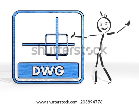 scribble stick man presents a dwg file sign white background - stock photo