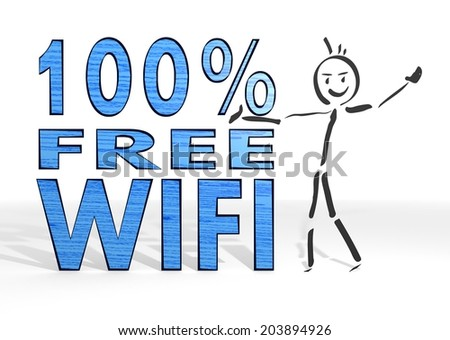 scribble stick man presents a 100 percent free wifi symbol white background - stock photo