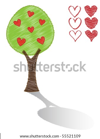 Scribble tree and red hearts