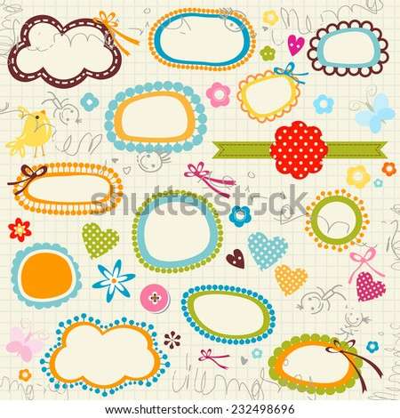 scribbled notebook page, labels, flowers, hearts - stock photo