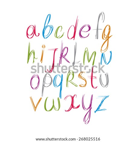 Script handwritten font, alphabet letters. - stock photo