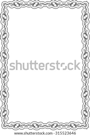 Scroll art ornate frame is isolated on white