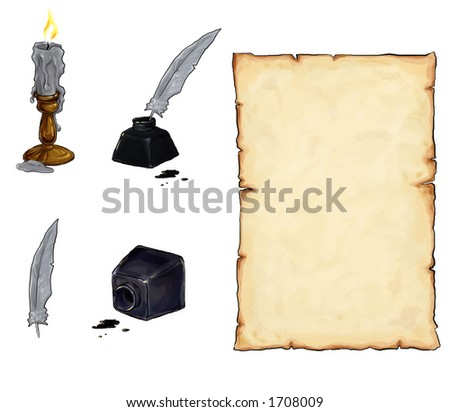 scroll, candle, incpot and feather - stock photo