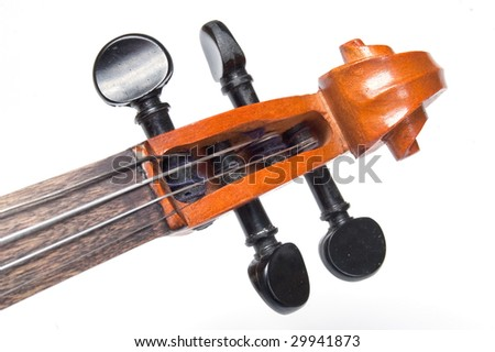 Scroll of classical violin closeup isolated on white background - stock photo