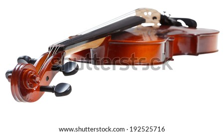 scroll of classical wooden fiddle close up isolated on white background