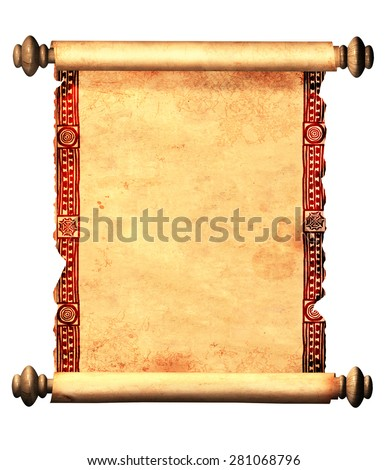 Scroll of old parchment with decorative ornament. Object isolated on white background - stock photo
