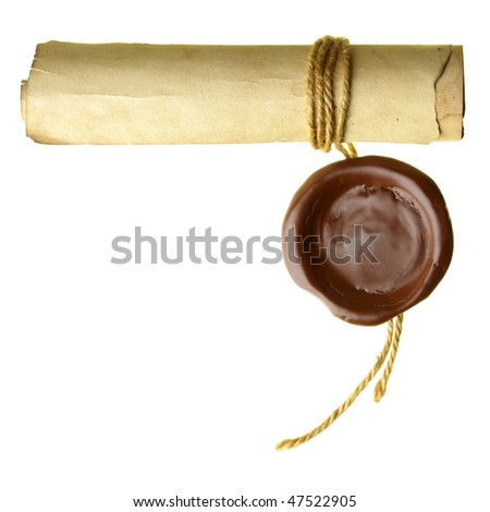 Scroll with wax seal isolated over a white background - stock photo
