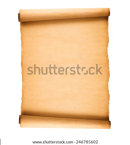 scrolled old paper isolated on white background - stock photo