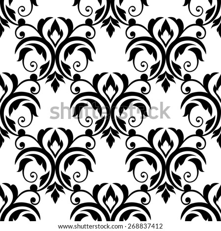 Scrolling floral design elements in a repeat black and white seamless pattern in square format suitable for tiles, textile and wallpaper design - stock photo
