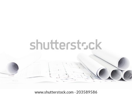 Scrolls of printed architecture projects - stock photo