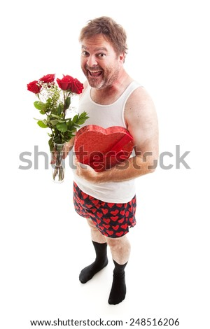 Scruffy middle aged man in his underwear with Valentines Day flowers and chocolates for his sweetheart.  Isolated on White - stock photo