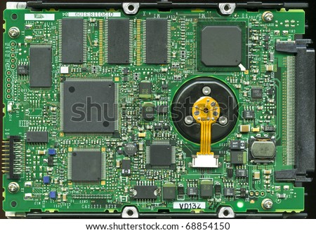 SCSI SCA 80 server hard disk drive main circuit board - stock photo