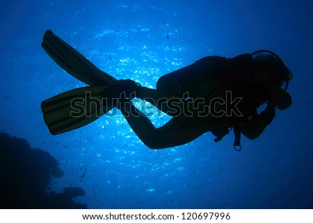 Scuba diver in the blue water of the ocean - stock photo
