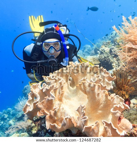 Scuba diver underwater close to coral reef - stock photo