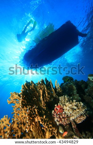 Scuba Divers beside dive boat moored over coral reef - stock photo