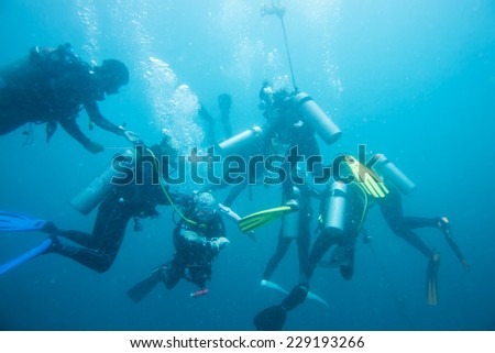 scuba divers descending on a descent line - stock photo