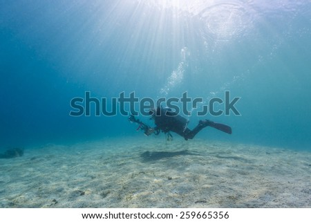 Scuba Divers passing through sandy bottom tropical sea - stock photo