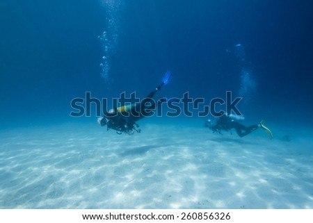 Scuba Divers passing through sandy bottom tropical sea. - stock photo