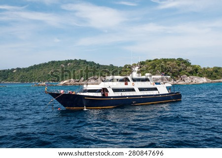 Scuba diving boat on the Similan islands, Thailand, Phuket. - stock photo