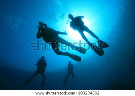 Scuba Diving in the Ocean: Silhouettes against sunburst