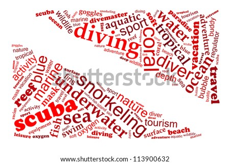 SCUBA DIVING info-text graphics arrangement composed in dive flag shaped concept (word clouds) on white background