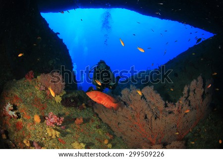 Scuba diving on tropical coral reef with fish underwater - stock photo
