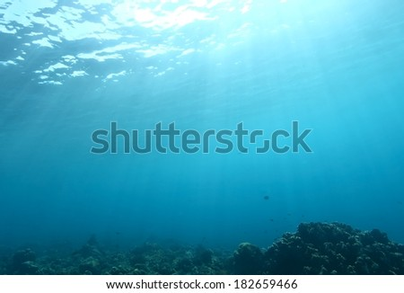 scuba diving shot of underwater sea with sun ray - stock photo
