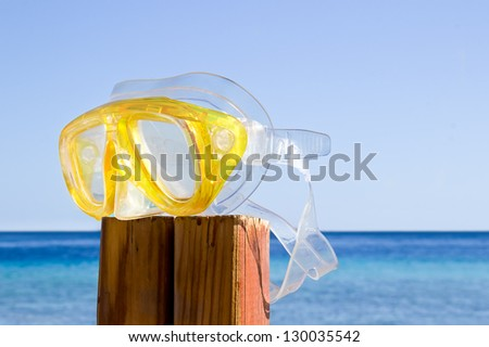 scuba mask. summer is over - stock photo