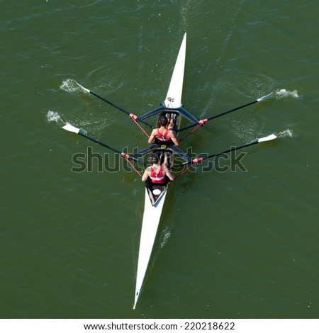 Scullers in Competition - stock photo