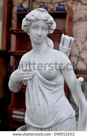 Sculptural Bust classic ancient Amazons women topless and a quiver of arrows - stock photo