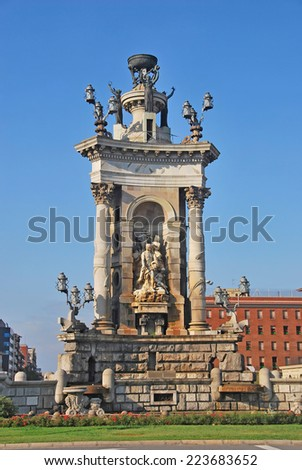 sculptural group in Espanya square, Barcelona, Spain. - stock photo