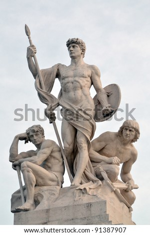 Sculptural group near to Monument of Victor Emmanuel II, in Roma Italy - stock photo