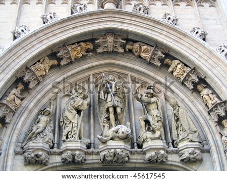 Sculptural Ornaments On A Gothic Building In Brussels