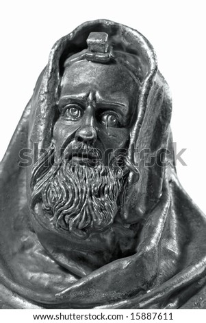 Sculptural portrait of old rabbi(isolated). - stock photo