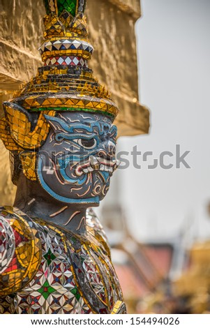 Sculpture at Royal Palace, Bangkok City, Religion, Culture and Tradition, South East Asia, Thailand.  - stock photo