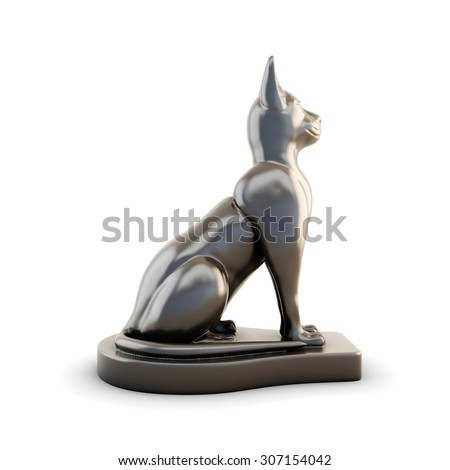 Sculpture cats side view isolated on white background. 3d illustration. - stock photo