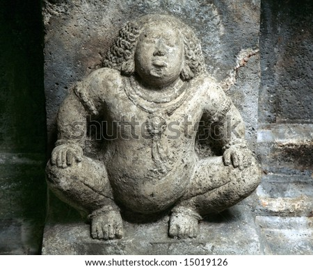 sculpture in the ancient Indian temple, close