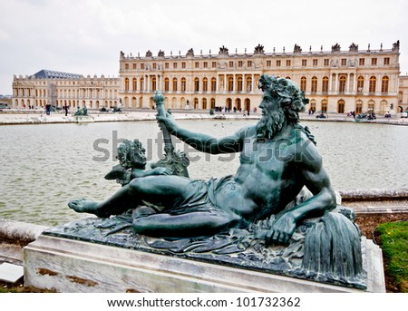 sculpture in the garden of chateau de Versailles, France - stock photo