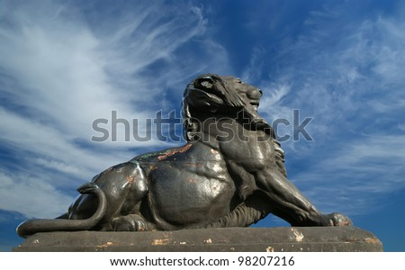 Sculpture of a lion near Chistopher Columbus monument in Barcelona, Spain