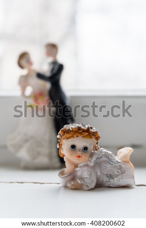 sculpture of an angel. lovely angelic figurine. - stock photo