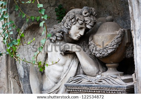 Sculpture of Angel at a old Prague cemetery - stock photo